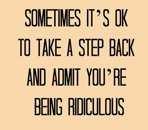 It's ok to admit you're being ridiculous