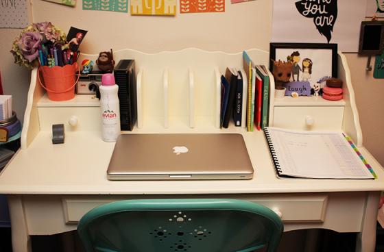 evian on my desk