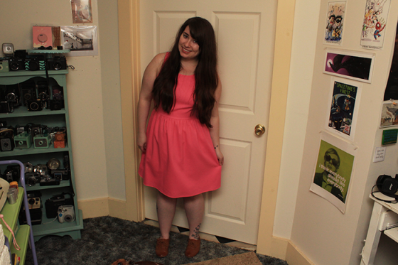 pink scallop dress front view